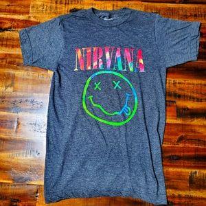Nirvana Multi Color Swirl Smiley Face Logo Tshirt